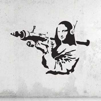 Banksy Mona Lisa Rocket Wall Decals