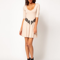 Paprika Jersey Crochet Trim Skater Dress at asos.com