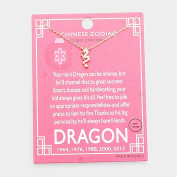 Chinese Zodiac Gold Dipped Cz Dragon Pendant Necklace