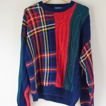 Vintage 90s Unique Retro Style Striped Cosby Sweater Grunge