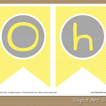 INSTANT DOWNLOAD DIY Printable Baby Shower Banner - Chevron Oh Baby Decorations - Yellow Grey Bunting Pennant Gender Neutral pdf