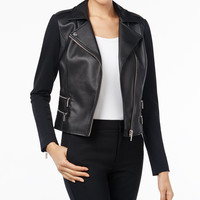 MICHAEL Michael Kors Petite Faux-Leather & Ponte Moto Jacket - Jackets - Women - Macy's