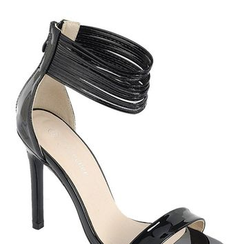 Ladies fashion simple, sophisticated and simply chic. high heel sandal, peep almond toe, stiletto heel, buckle closure.