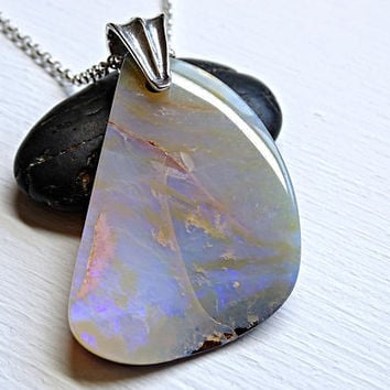 big Boulder opal pendant, large Australian opal necklace, big opal pendant men anniversary gift opal, October birthstone pendant