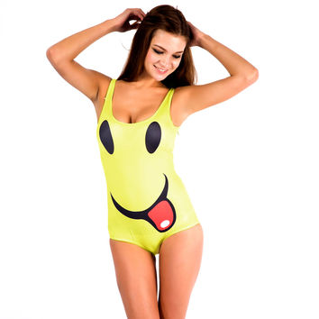 Yellow Tongue Out Smiley Print Swimsuit