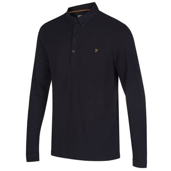 Farah Merriweather Long Sleeve Polo Shirt - Black