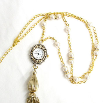 Mother's Day gift, Gold tassel watch necklace, vintage gold tassel, long watch necklace, gold watch, adjustable necklace, pearl necklace
