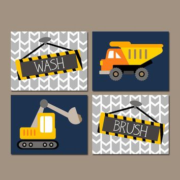 CONSTRUCTION Bathroom Wall Art Canvas or Prints Shared Boy Brother Decor, Dump TRUCK Theme, Wash Brush Pictures, Transportation, Set of 4