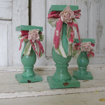 Pillar candle holders set of 3 ornate summer green shabby cottage chic tattered fabric and rose embellished home decor Anita Spero Design