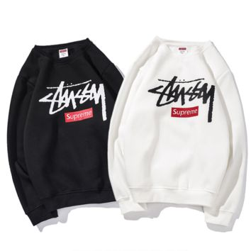 Supreme x Stussy joint name men and women plus velvet sweater