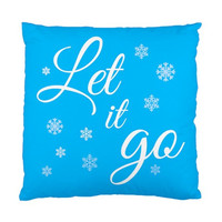 Let It Go Throw Decorative Accent Pillow Case Cover Blue, Turquoise, Teal, Frozen Snowflakes