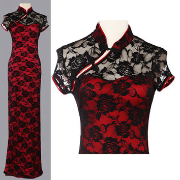 Red Lace Cap Sleeve Modern Vintage Long Cheongsam Evening Dress Gown SKU-122782