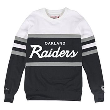 Oakland Raiders Mitchell & Ness Nfl Head Coach Premium Crew Sweatshirt - Beauty Ticks