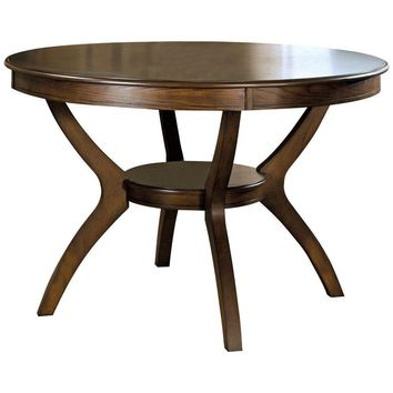 Modern Classic 48-inch Round Dining Table in Dark Walnut Wood Finish