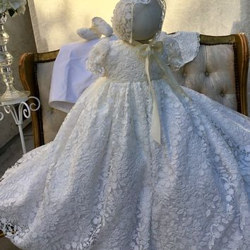Rosalia-christening gown-baptism dress-lace baby gown-bautismo