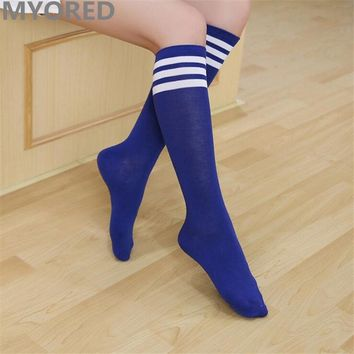 MYORED candy colored stripes cotton sexy women's long socks style party street dancing