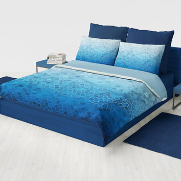Blue and White Mosaic Duvet Cover or comforter - Industrial chic boy's room