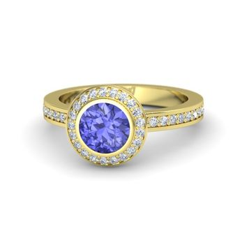 Round Tanzanite 18K Yellow Gold Ring with Diamond - Roxanne Ring