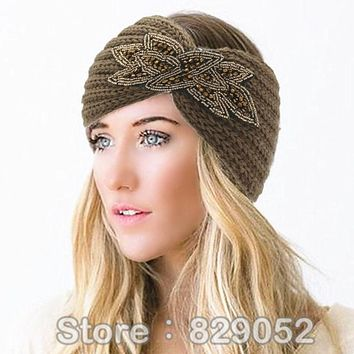Women's Beaded Knitted Wool Headbands Boho Flower Turban Head Wrap Bandage Winter Ear Warmer Girls Hairband Hair Accessories