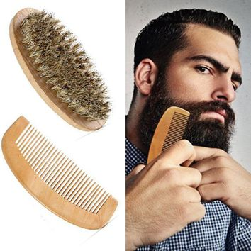 Boar Bristle Beard Brush and Handmade Beard Comb Kit for Men Beard Mustache
