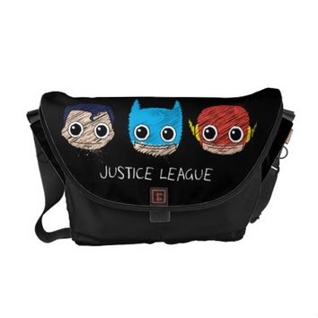 Chibi Justice League Heads Sketch Messenger Bag from Zazzle.com