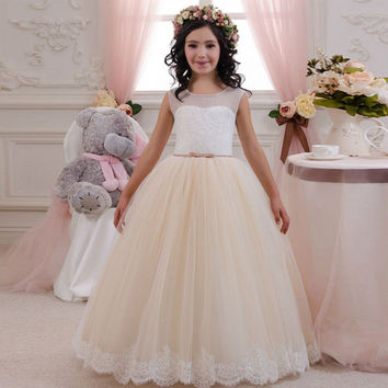 FG958 2016 Lace Flower Girl Dresses For Wedding Tulle Ball Gown Girls First Communion Dresses Cheap Child Pagent Dress