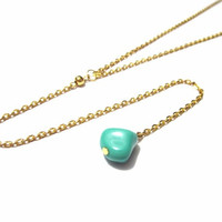 Mint Long Y Necklace / Turquoise Rosary Necklace / Blue Lariat Necklace / Long Lariat Chain / Gold Y Necklace / N282