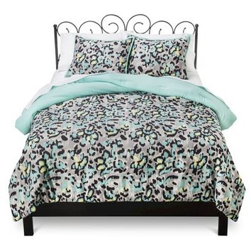Xhilaration® Ikat Cheetah Comforter Set - Black/Turquoise