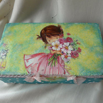 Cute Girl Box, Baby Girl Box, Girl Memory Box, Turquoise Keepsake Box, Polka Dot Wood Box