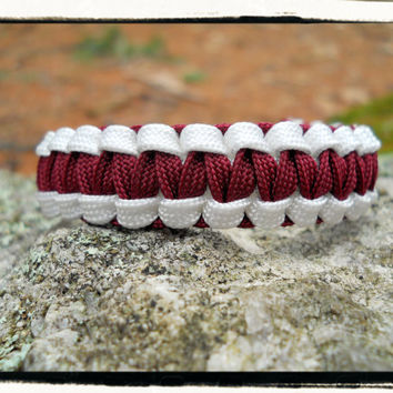 Burgundy White Gutted Survival Bracelet