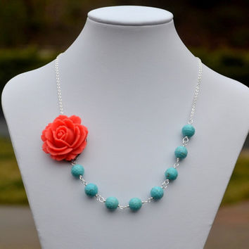 Coral Rose and Turquoise Beaded Chunky Asymmetrical by RusticGem