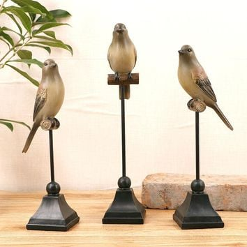 MTTUZK  1PC Resin Bird Hanger Figurine Ornaments American Country Style Creative Artificial Decorative Home Decor Wedding Gift