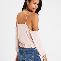 AEO Soft & Sexy Cold Shoulder Tie-Sleeve T-Shirt, Blush