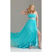Empire Strapless Floor-Length Chiffon and Sequins Prom Dress SEM0274 - Occasion Dresses