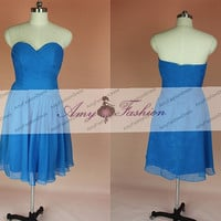 Strapless Ruched Top Chiffon Short Royal Blue Bridesmaid Dress/Royal Blue Prom Dress/Short Royal Blue Homecoming Dress/Bridesmaid Dress