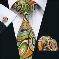 FA-1242 New Arrival Fashion Print Ties For Men High Quality Brand Design Necktie Handkerchief Cufflinks Set For Wedding Party