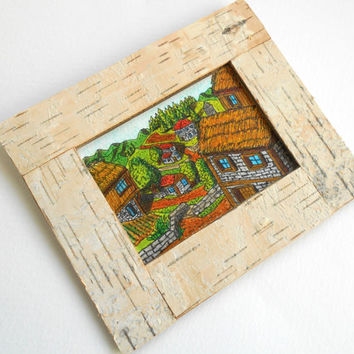 Birch bark ACEO frame, personilized handmade picture frame in 19 measures, natural wood rustic frame with stand holder or wall hanger