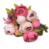 1 Bouquet 8 Heads Artificial Peony Silk Flower Leaf Home Wedding Party Decor Happy Gifts High Quality Silk-like&Plastic 5 Colors