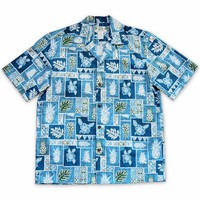 Castaway Blue Hawaiian Cotton Shirt