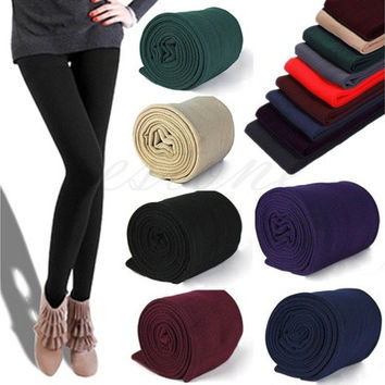 Womens Warm Velvet Winter Skinny Slim Leggings Stretch Pants Thick Footless Tights Knitted Thick Slim Fitness Super Elastic Women Pants [8805232455]