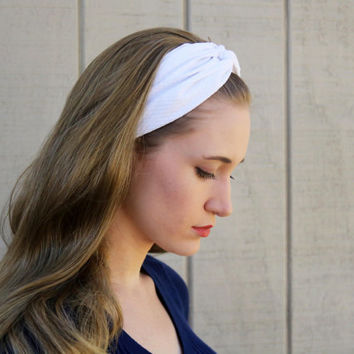 White Seersucker Vintage Headband: Retro Style Band, Solid White Faux Head Wrap for Adults