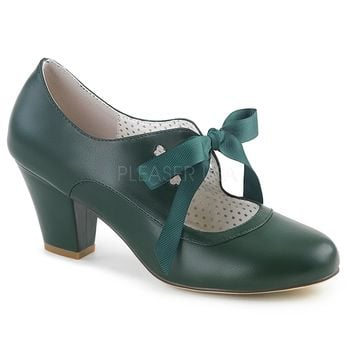 Pin Up Couture Green Wiggle Bow Tie Pumps