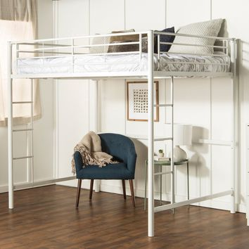 Premium Metal Full Loft Bed - White