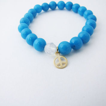 Blue jade stretch  bracelet.  Blue Stacking Bracelet Gemstone - Stretch Bracelet