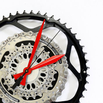 Bicycle Wall Clock - Industrial Wall Clock, Bicycle Clock - Bike Clock - Unique Wall Clock - Unique Clock - Boyfriend Gift - Husband Gift