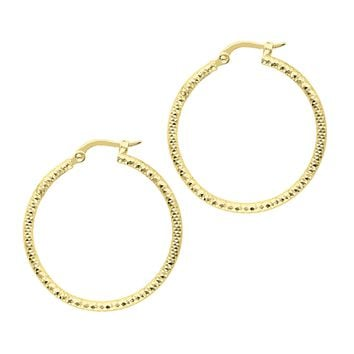 14K Yellow Gold 1.5X25mm Shiny Diamond Cut Fashion Sparkle Large Hoop Earring  with Hinged Clasp
