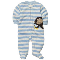 Carter's Boys Stripe Monkey Microfleece Embroidered Sleep N' Play