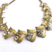 Signed ART Rhinestone & Gold Metal Choker Necklace Vintage Retro Fashion Jewelry