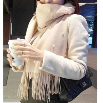Pearl Design Imitation Cashmere Pashmina Winter Scarf Women Scarves And Shawl Brand Tassel Shawls Girl Blanket Wrap Bandana  Q2