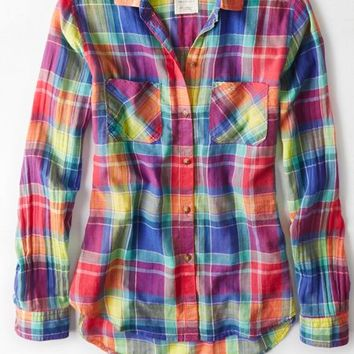 AEO Women's Plaid Girlfriend Shirt (Blue)